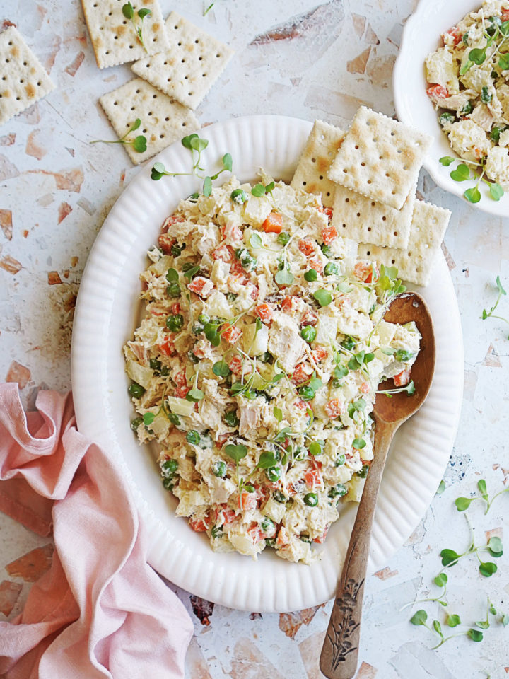 A serving platter with Mexican Chicken Salad