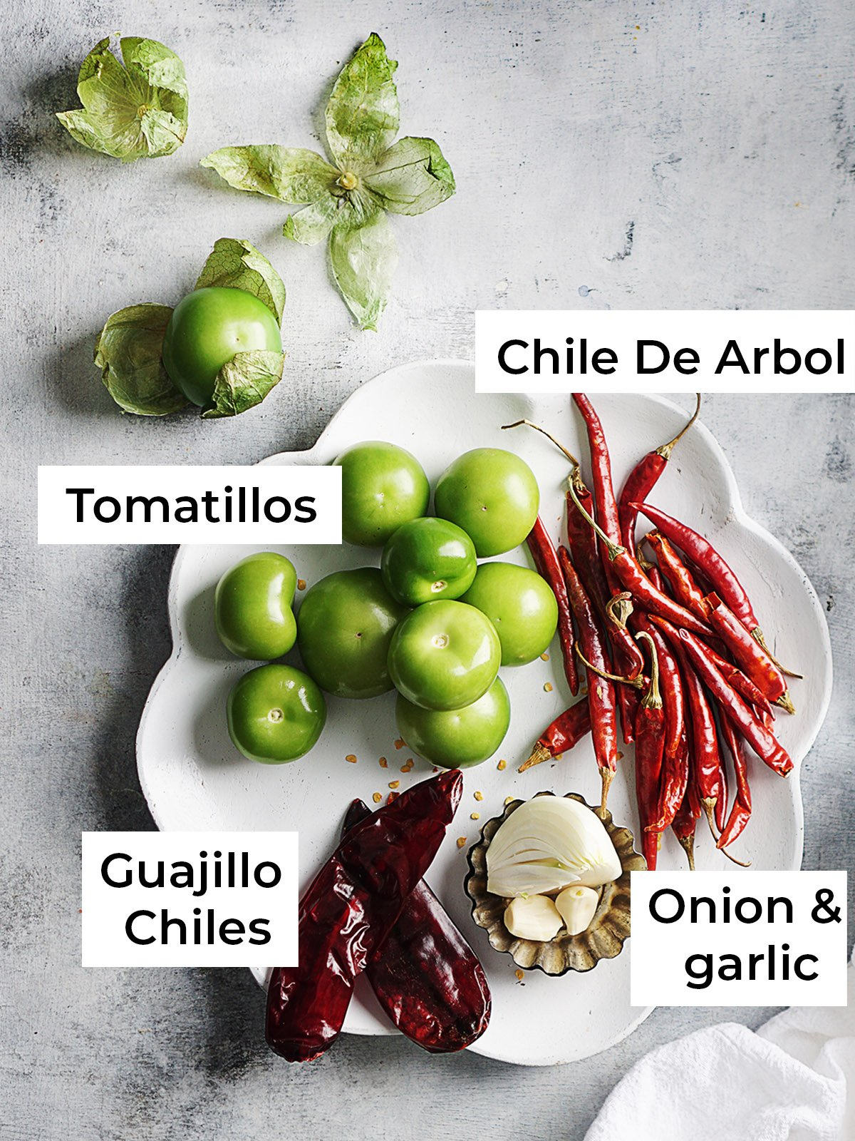 Ingredients for salsa on a white plate: Arbol chiles, onions, garlic, serrano peppers, an 2 guajillo peppers
