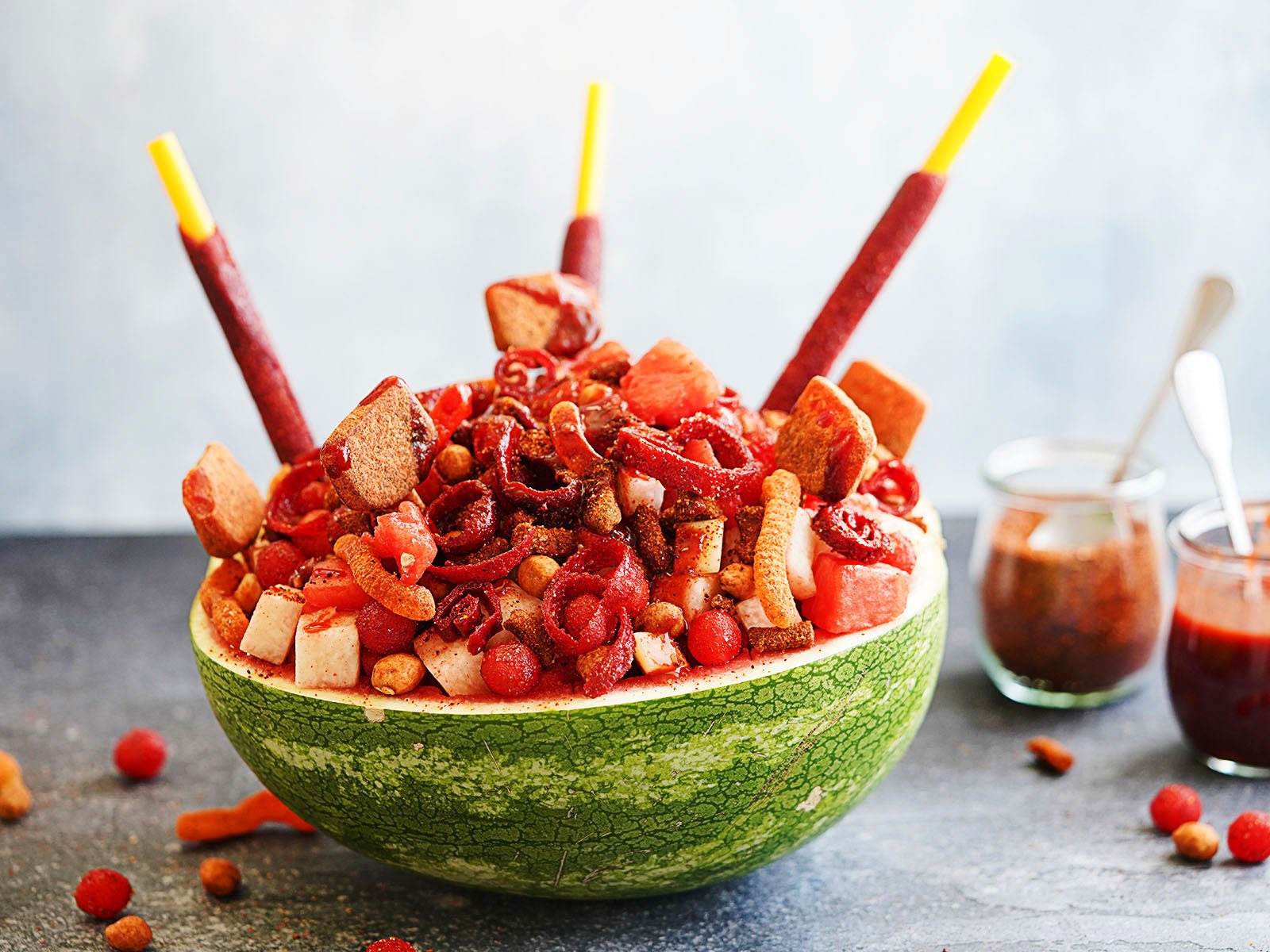 Sandia Loca topped with Mexican candy and chamoy