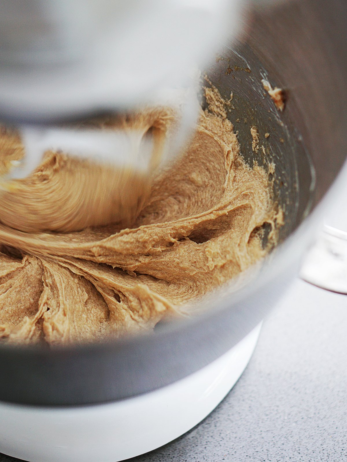 Cookie dough being mixed.