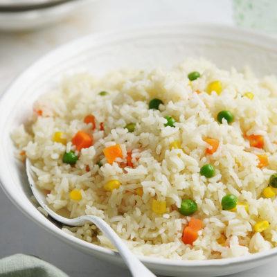 White rice in a white bowl