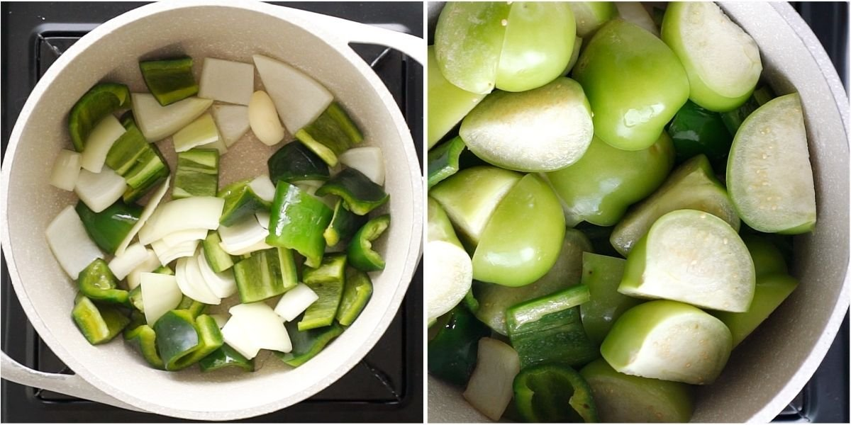 Tomatillos, onions and jalapeños in a small sauce pan