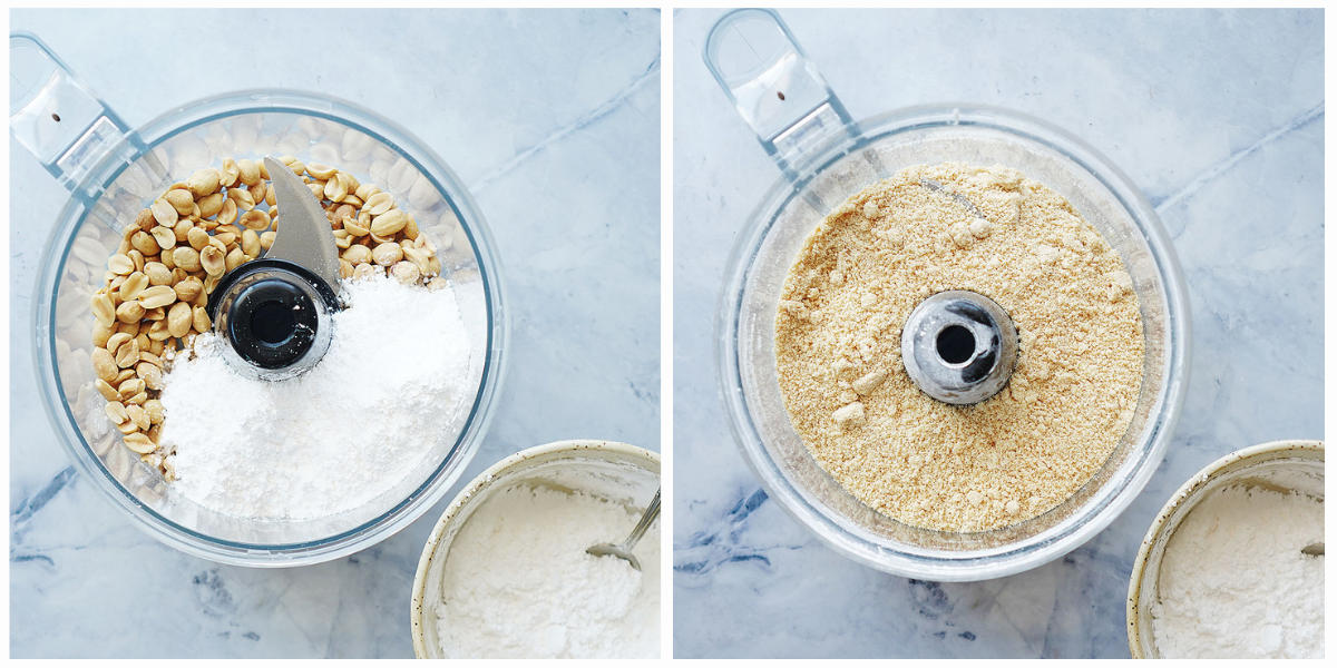 Grounding peanuts and powdered sugar in a food processor