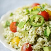 a close up image of Mexican rice salad