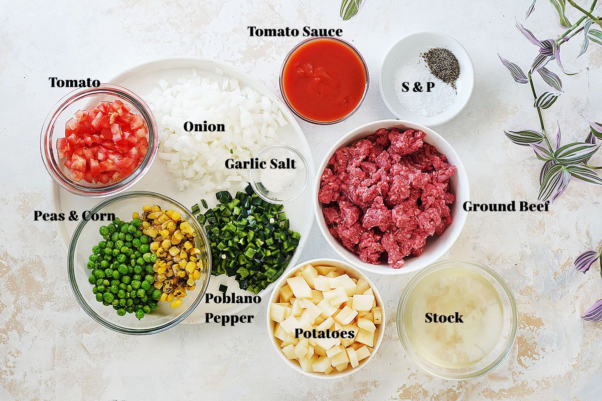 Ingredients in small bowls: cut potatoes, ground beef, onions & spices