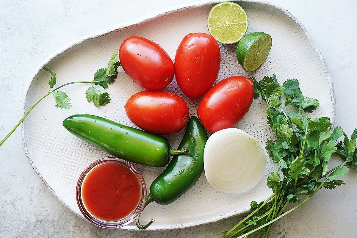 Ingredients on a white plate: whole tomatoes, jalapenos, onion, cilantro and tomato sauce