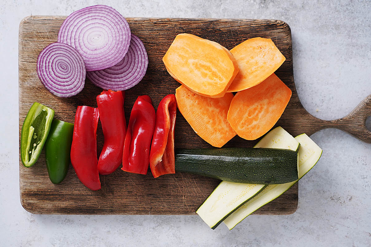 Sliced vegetables on a cutting board