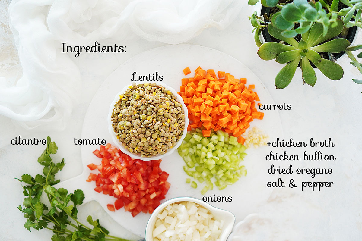 All ingredients for this recipe on a white board.