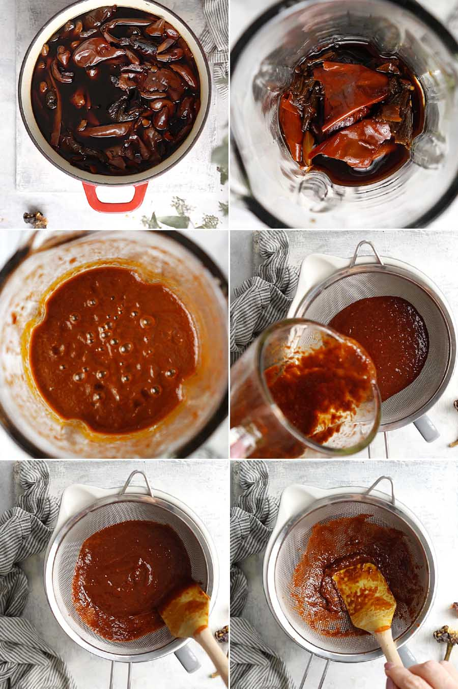 Blending the cooked red chiles in a blending then passing them thru a strainer.