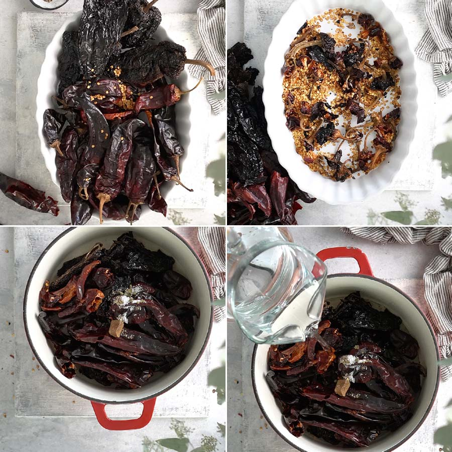 Cooking dried chiles in a white red pot.