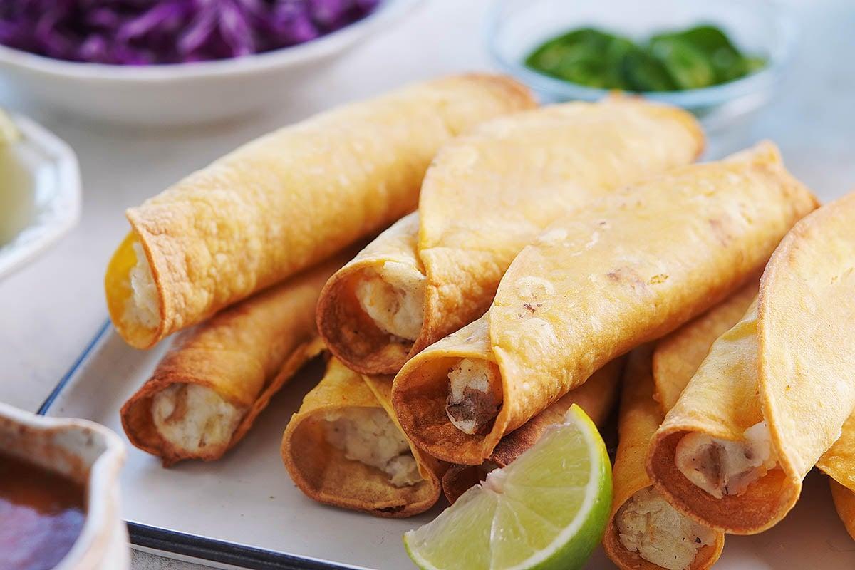 Potatoes inside tortillas after being air fried.