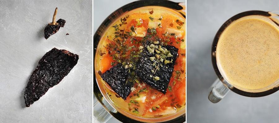 Blending pasilla pepper, tomatos and oregano in vegetable broth.
