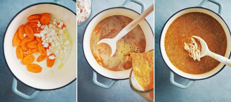 Making soup in a medium saucepan.
