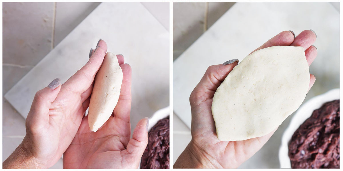 Two images of forming the masa by hand.