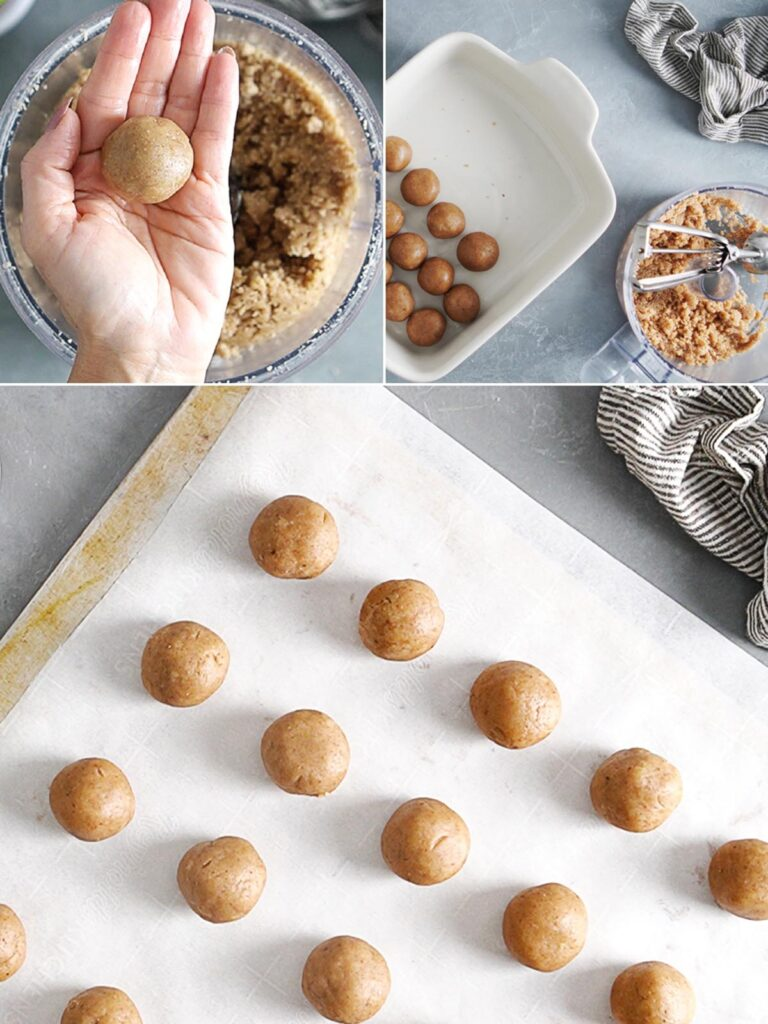 Making cookie dough balls by hand.